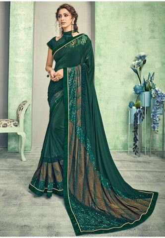 Indian Wedding Party Saree In Lycra Green With Blouse SIYA44YSD - Siya Fashions