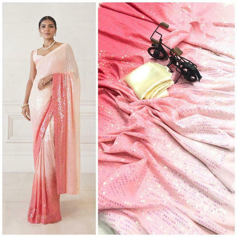 Pink Bollywood Sequined Reception Wedding Partywear Saree BOL1024 - Siya Fashions