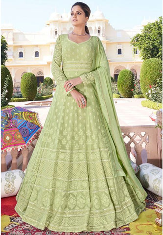 Designer Green Long Readymade Anarkali Suit Lakhnavi Work APR2023 - Siya Fashions