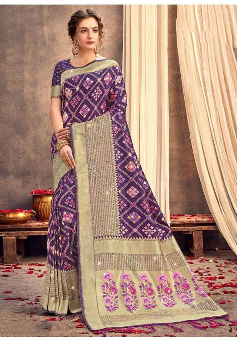 Upraised Purple Banarasi Silk Saree Influential Weaving Work YDS1037 - Siya Fashions