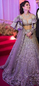 Cocktail Lehenga In Mauve Grey With Net Crystal SF88INSD - Siya Fashions