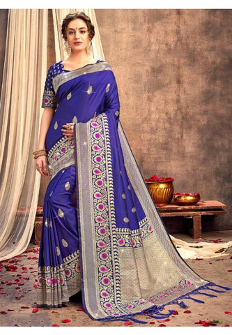 Upraised Blue Banarasi Silk Saree Influential Weaving Work YDS1034 - Siya Fashions