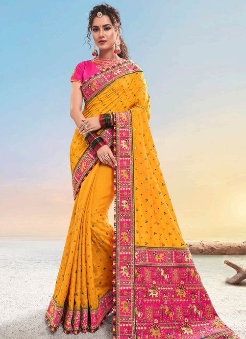 Bridal Banarasi Silk Yellow Saree With Pink Blouse SFWEB1311 - Siya Fashions