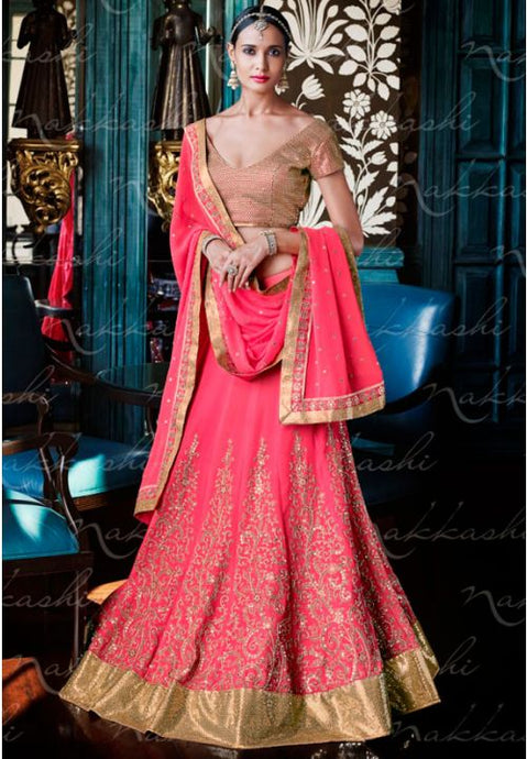 Astounding Pink Indian Wedding Bridal Lehenga In Georgette SFYDS794NK - Siya Fashions