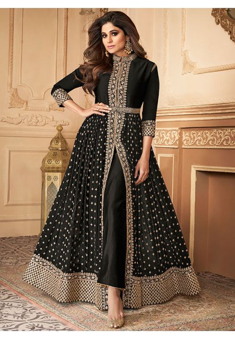 Bollywood Shamita Shetty Black Anarkali Salwar Suit In Georgette Buttis BOLSF5644 - Siya Fashions