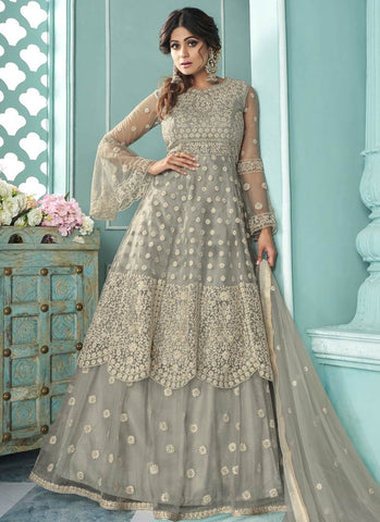Bollywood Grey Shamita Shetty Lehenga Kameez Suit FZ43053 - Siya Fashions