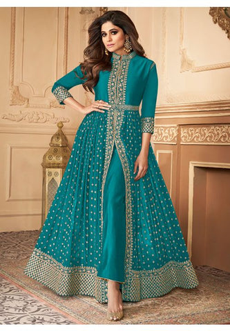 Bollywood Shamita Shetty Turquoise Anarkali Suit BOL537YDS - Siya Fashions