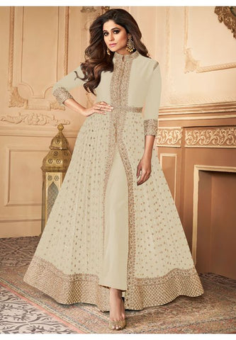 Bollywood Shamita Shetty Cream Anarkali Suit BOL534YDS - Siya Fashions