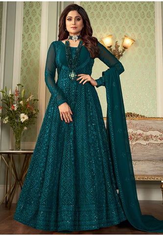 Teal Bridal Wedding Long Anarkali Gown In Georgette SFBOL132 - Siya Fashions