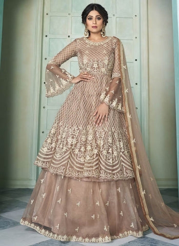 Bollywood Brown Shamita Shetty Lehenga Kameez Suit FZ43051 - Siya Fashions