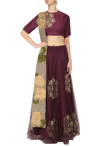 Siya Fashions Wine Net Wedding Party Lehenga SF9743 - Siya Fashions