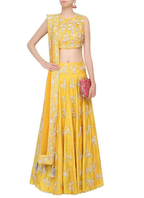 Yellow Banarasi Silk Wedding Lehenga Choli SF973 - Siya Fashions