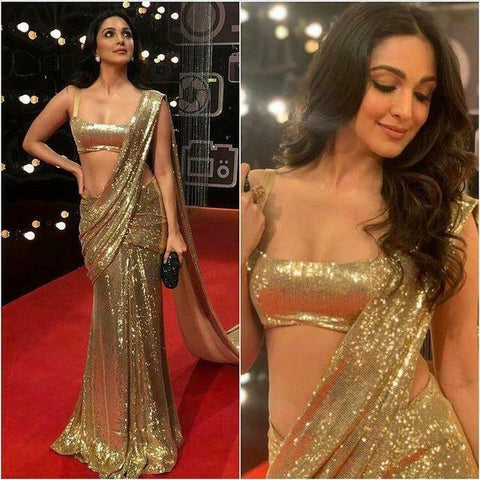 Bollywood Partywear Gold Saree Fully Sequence BOLY909 - Siya Fashions