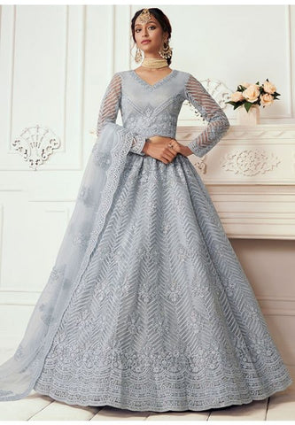 Ritzy Grey Wedding Lehenga Choli Net Stone Work SD064 - Siya Fashions