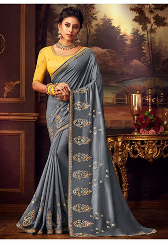 Grey Silk Saree Yellow Dupion Blouse With Stone Work YDS127SF - Siya Fashions