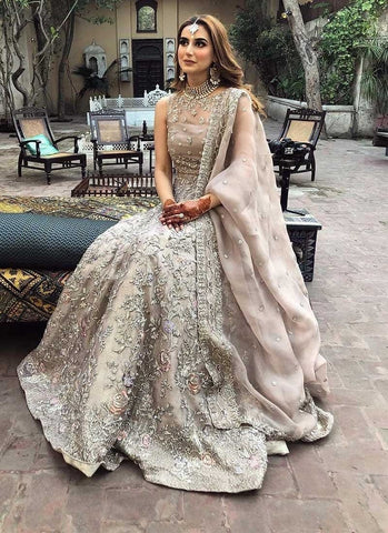 Handcrafted Grey Bridal Royal Lehenga In Jacquard Silk SFINSD1021