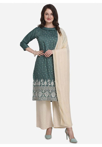 Evening Wear Teal Silk Mix Blended Palazzo Kameez Suit SFPL56 - Siya Fashions