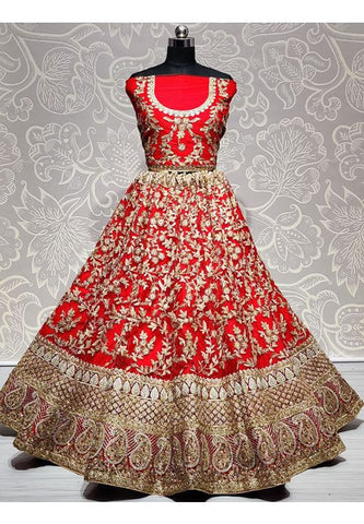 Royal Red Bridal Wedding Lehenga Choli Hand Embroidery SYDS784 - Siya Fashions