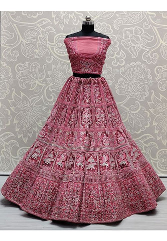 Royal Pink Bridal Wedding Lehenga Choli Hand Embroidery SYDS789 - Siya Fashions