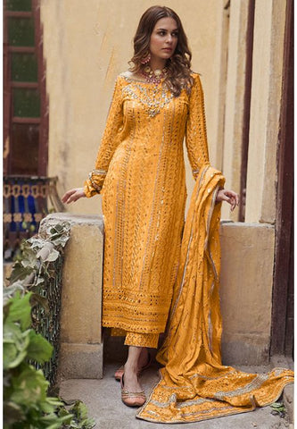 Noor Mustard Yellow Georgette Sequin Cigratte Style Pants Suit SBL909 - Siya Fashions