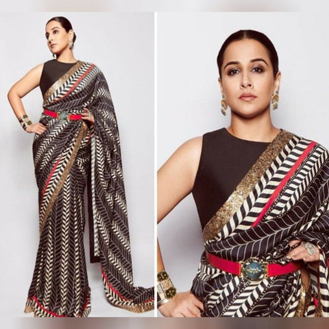 Bollywood Partywear Black White Saree In Silk BOLY913 - Siya Fashions