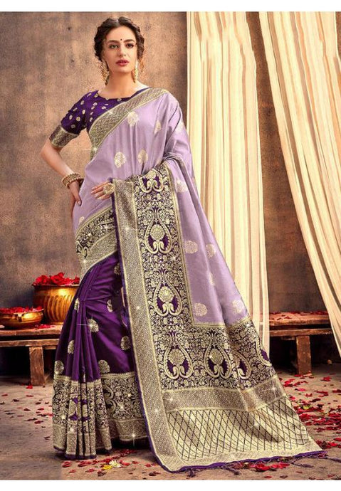 Upraised Purple Banarasi Silk Saree Influential Weaving Work YDS1032 - Siya Fashions
