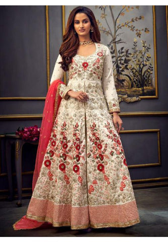 Pure Silk White Floral Embroidery Long Anarkali Gown SFYDS89 - Siya Fashions