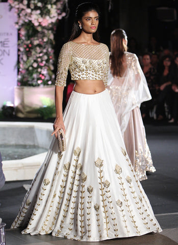 Clients Diary White Zari Work Silk Wedding Lehenga Choli SFI0303 - Siya Fashions
