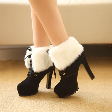 Winter Boots  High-heeled Women Fahsion Martin Valgus Shoes Nubuck Leather