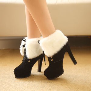 Winter Boots  High-heeled Women Fahsion Martin Valgus Shoes Nubuck Leather - Christopher's apparel