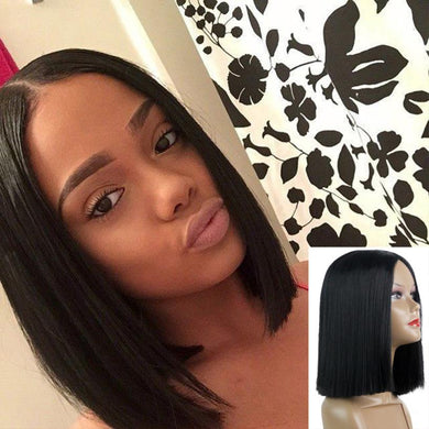 1PC 13inch Made Fiber Straight Short Black Color Middle Part American African Bob Wigs Hair For Black Women - Christopher's apparel