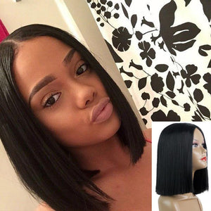 1PC 13inch Made Fiber Straight Short Black Color Middle Part American African Bob Wigs Hair For Black Women