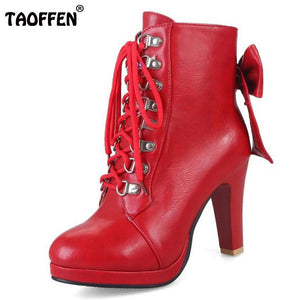Women High Heels Shoes Women Warm Bowknot Cross Strap Solid Boots Platform Lace Up Winner Boots Footwear Size 34-43