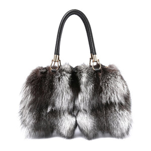 New Tote bag Women Silver Fox Fur Leather Messenger Bags Fashion Real Cowhide Handbags High Quality Ladies Crossbody Bags