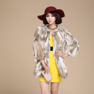 Lady Fashion Real Rabbit Fur Coat Jacket  Winter Women Fur Outerwear Coats Apparel VK0194