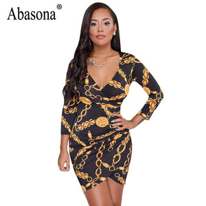 Chain Printed Dress Women Long Sleeve v Neck Wrap Bodycon Pencil Dress Evening Party Women Dresses Robe Sexy