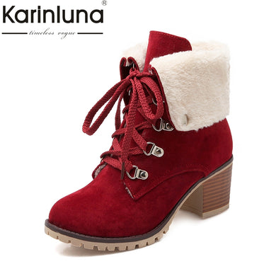 large size 34-43 Martin Boots Women Fashion Woman Shoes Leisure Add Warm Fur Lace Up Winter Ankle Boots Platform - Christopher's apparel