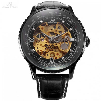 Classic Luxury KS Royal Black Big Case Automatic Mechanical Skeleton Leather Wrap Relogio Self Wind Men Mechanical Watch / KS114