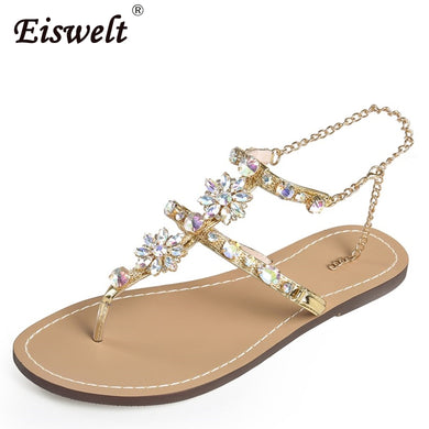 Woman Sandals Women Shoes Rhinestones Chains Thong Gladiator Flat Sandals Crystal Chaussure Tenis Feminino