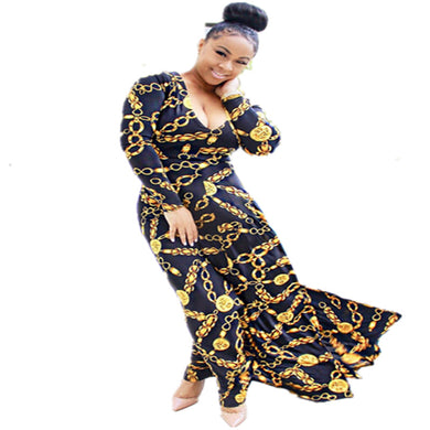 Women's Dress O-neck Metal Chain Print Long Sleeve Maxi Dress Straight Sexy Dresses Vestidos