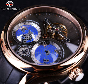 Forsining 2016 Earth Real Tourbillion Multi-dimensional Designer Mens Watches Top Brand Luxury Fashion Casual Automatic Watch - Christopher's apparel