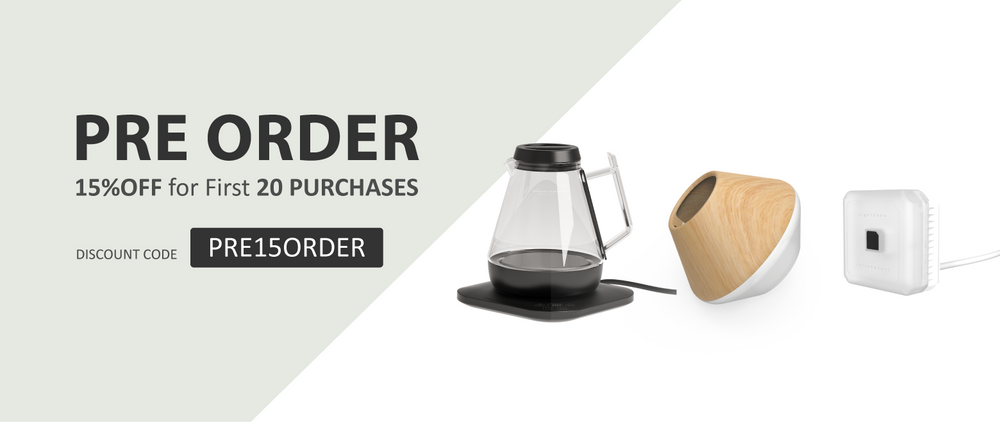 Pre-order 15% off : Smart home WaterCooker, Tulip desk lamp, Lightcube dimmable light | Allocacoc EU