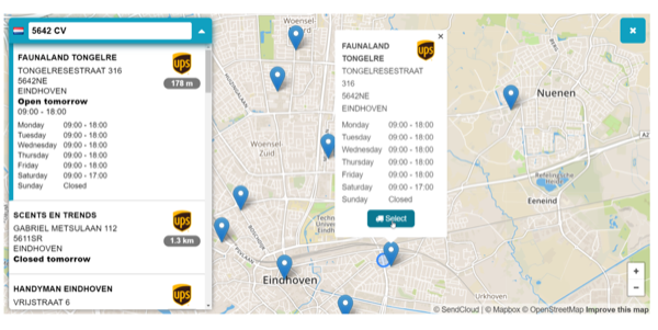 Shipping method: choose service point on the map