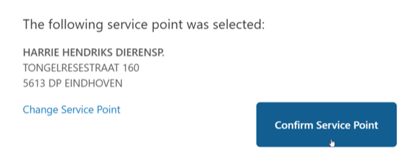 Shipping method: Confirm the service point