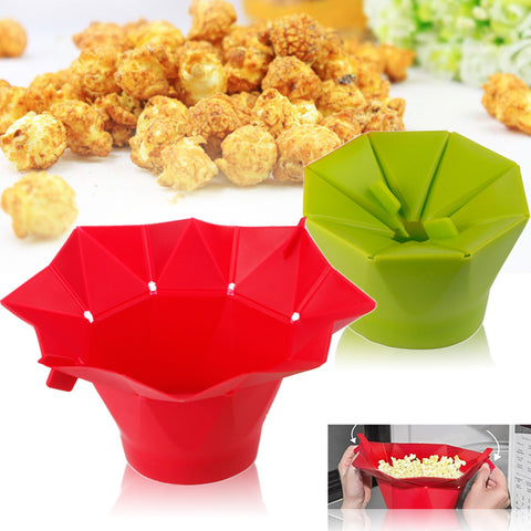 New High Quality Poptop Popcorn Popper Maker DIY Silicone Microwave Popcorn Maker Fold Bucket Red Green Kitchen Tool IC884043