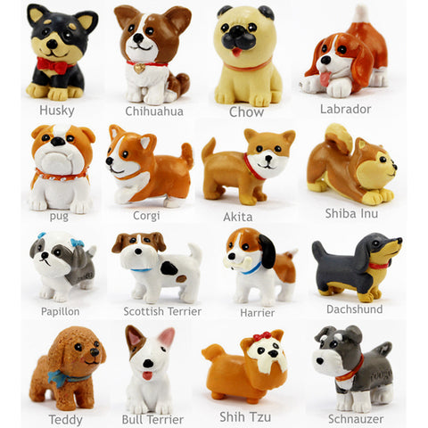 16 Pcs/Set Kawaii resin miniature Puppy mini cartoon Dogs figurines Animal ornaments table decoration Home decor Garden ornament