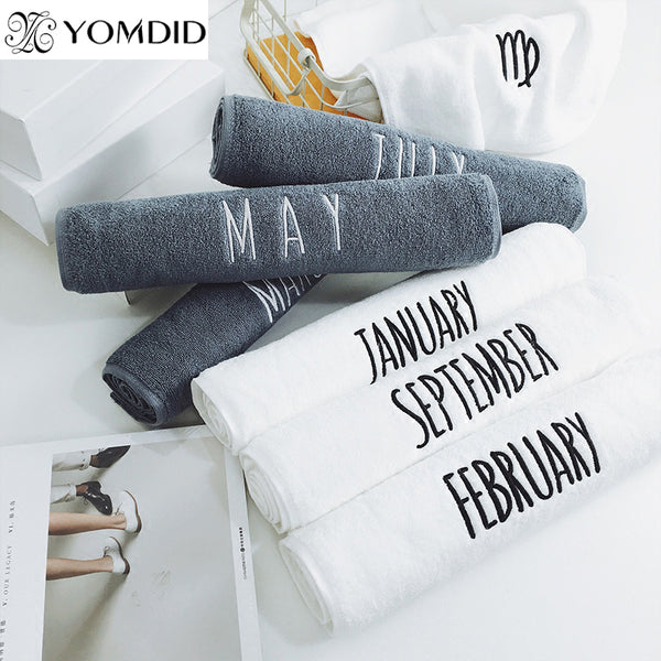 100% Cotton Embroidery 12 month Towel High Quality White Face Towel Sport Bath hand Towel Bathroom For Home Hotel Wedding
