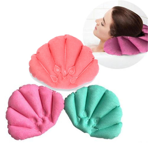 Bathroom Products New Home Spa Inflatable Bath Pillow Cups Shell Shaped Neck Bathtub Cushion Random Color Bathroom Accessories