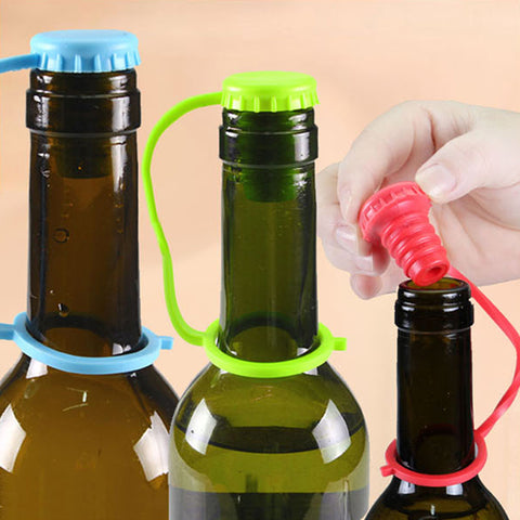 1pcs Anti-lost Silicone Hanging Button Seasoning Beer Wine Cork Stopper Sealed Plug Bottle Cover Wine Storage Kitchen Tool D0413