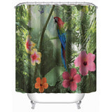 180x180cm Parrot Flower 3D Shower Curtains Waterproof Polyester Bathroom Curtain with 12 Hooks Home Decor